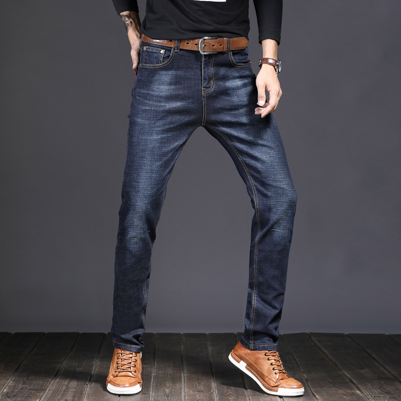 Jeans Men Business Casual Simple Style Comfortable Denim Trousers
