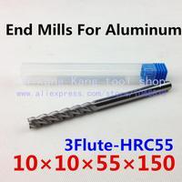 New 3 Flute Head: 10mm Aluminum cutter End mill Milling of aluminum Cutting Hardness: 55HRC CNC Tool 3F10*10*55*150mm