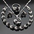 Black Safira Criado Cor Prata Colar de Pingente de Conjuntos de Jóias Para As Mulheres Do Parafuso Prisioneiro Brincos Pulseira Anéis de Natal Caixa de Presente Livre