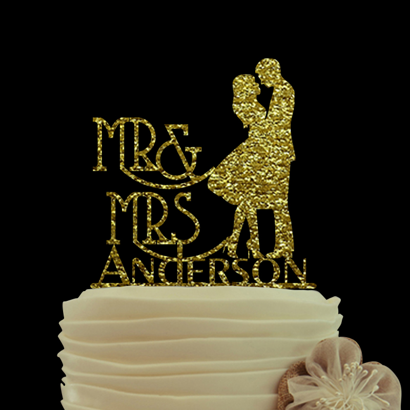 Love Cake Topper With Last Name Custom Acrylic Silhouette