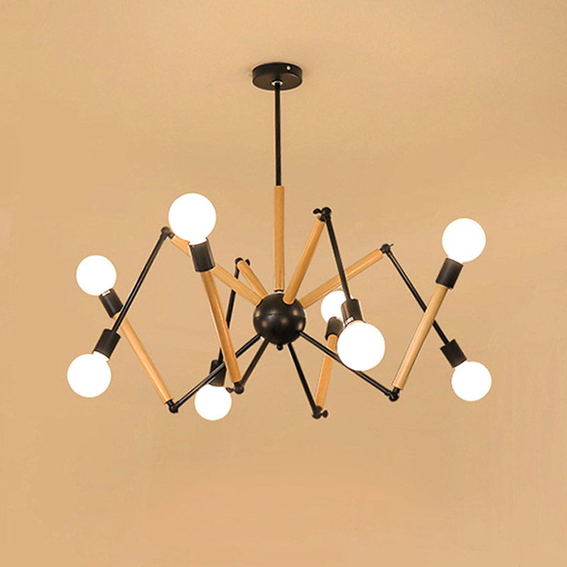 Modern Spider Pendant Light Nordic Dining Room Kitchen Light Designer Hanging Lamps Rubber Wood Decoration Black White modern milk white glass pendant light nordic dining room kitchen foyer light designer hanging lamps lustre lighting