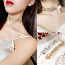 RE Silver gold sexy lace sequins choker necklaces bohemia invisible neck chain chocker collar statement necklace for women N34 lace sequins choker necklace