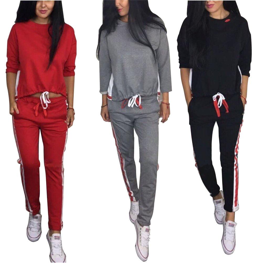 2019 New  Full Casual Pullover O-neck Regular Drawstring Regular Geometric Full Women's Sets  2 Piece Set  Women's Sports Suits