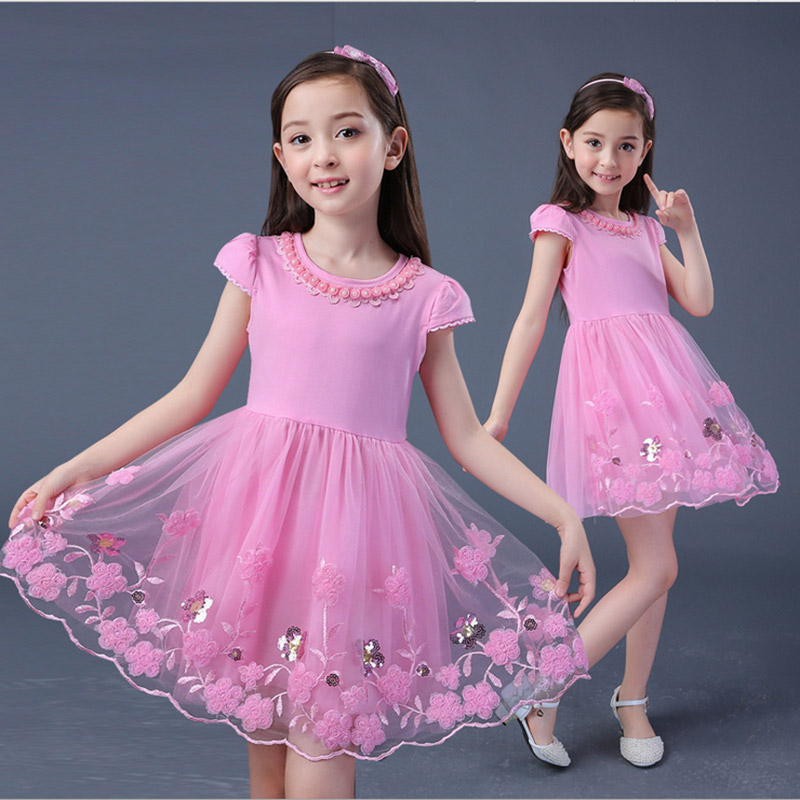 Cute Baby Girl Dress Summer 2017 Pink lace Short Sleeve Dresses for Girls School Clothes Kids Children Birthday Party 3 6 8 12T cute baby girl dress summer 2017 cartoon pink pig short sleeve striped dresses for girls clothes kids children birthday party