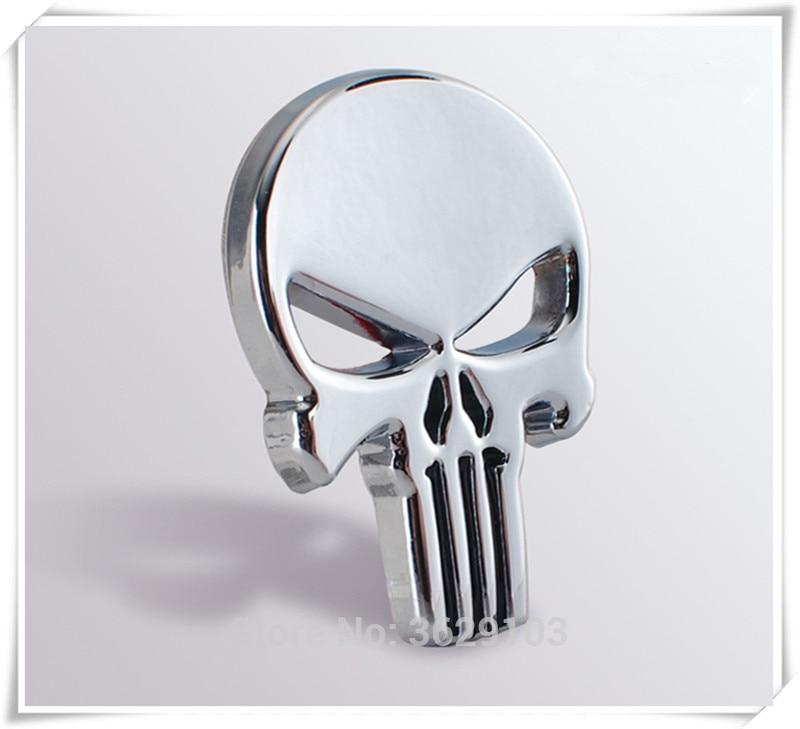 Car Styling 3D Metal The Punisher Skull Emblem Badge accessories for Nissan qashqai tiida almera juke primera x-trail note Sunny