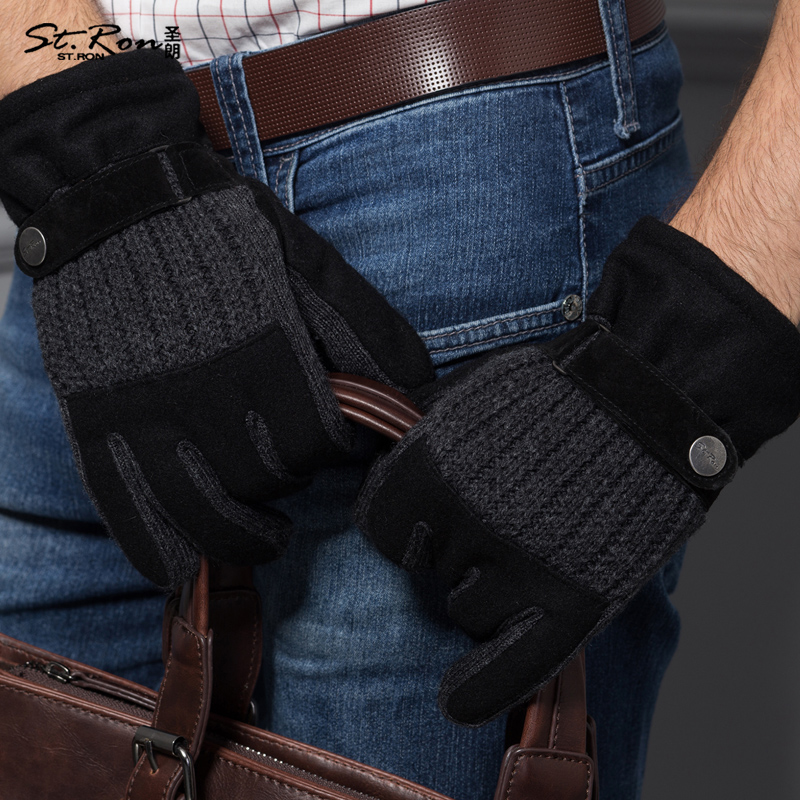 Fashion <font><b>Men</b></font> Leather <font><b>Gloves</b></font> Male Winter Thermal Real Wrist Patchwork Genuine Black Pigskin <font><b>Glove</b></font> Promotion Free Shipping St6109