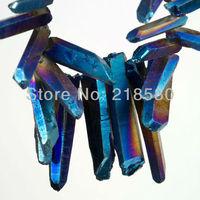 H-TB01 Blu Titanio Quarzo Bastoni Crystal Points Forata Beads briolettes 16 pollice Strand 12-36mm Lungo