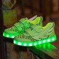 2017 kids shoes luminoso iluminado usb led de recarga para niñas niños niños zapatillas de deporte 7 colores brillantes ocasionales con luz