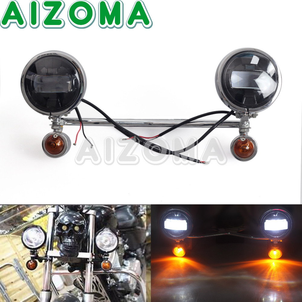 Motorcycle Universal Chrome Driving Passing LED Spot Light Bracket Bar Turn Signal Light For Harley Honda Suzuki Yamaha Cruisers недорго, оригинальная цена