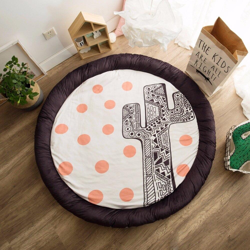 Épais nouveau-né bébé rembourré tapis de jeu doux coton tapis ramper filles garçons tapis de jeu tapis de sol rond pour enfants décor de chambre intérieure - 4