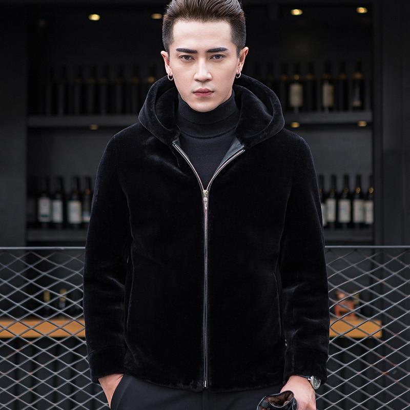 cc45deb4e3b Σακάκια   παλτά AYUNSUE Real Fur Coat Autumn Winter Jacket Men Sheep  Shearing Wool Coats Plus Size Short Hooded Men s Jackets 2018 KJ832