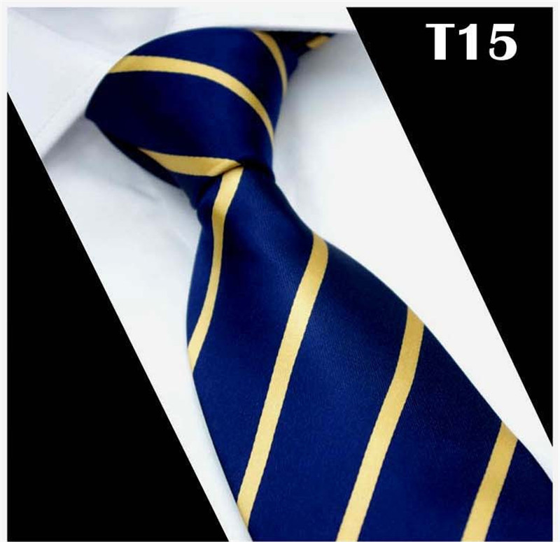 SCST Brand New Gravata Gold Striped Print Blue Silk Neck Ties For Men Tie 8cm Slim Wedding Neckties Mens Necktie Cravate CR032(China)