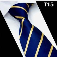 SCST Brand New Gravata Gold Striped Print Blue Silk Neck Ties For Men