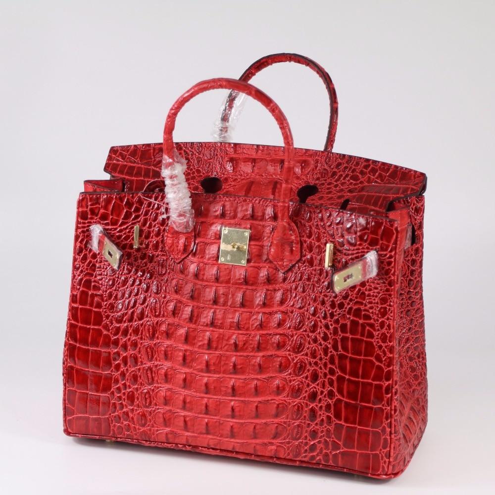 30CM 35CM Fashion Crocodile Patten Genuine Leather Women bag handbags 2018 New ladies Cowhide Tote Shoulder Bag Messenger Bag