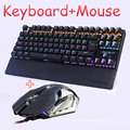 Gaming Mecânico teclado e mouse combo LED Backlit led Anti-ghosting Luminosa + gaming mouse 6 botões 3200 DPI Russa adesivos
