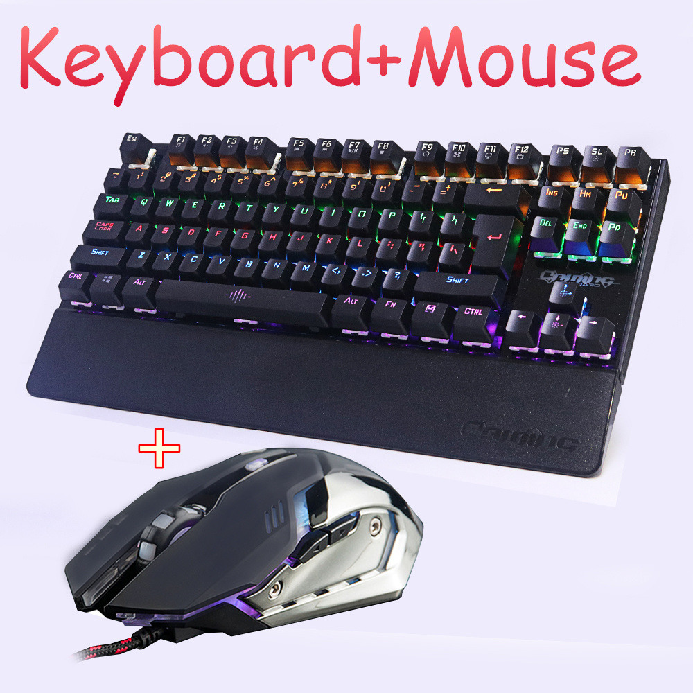 купить Gaming Mechanical keyboard mouse combo Backlit LED led Anti-ghosting Luminous+ gaming mouse 6 buttons 3200DPI Russian Stickers онлайн