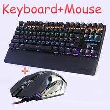 Gaming ratón combo teclado Mecánico Con Retroiluminación LED led Anti-fantasma Luminoso + gaming mouse 6 botones 3200 DPI Ruso pegatinas
