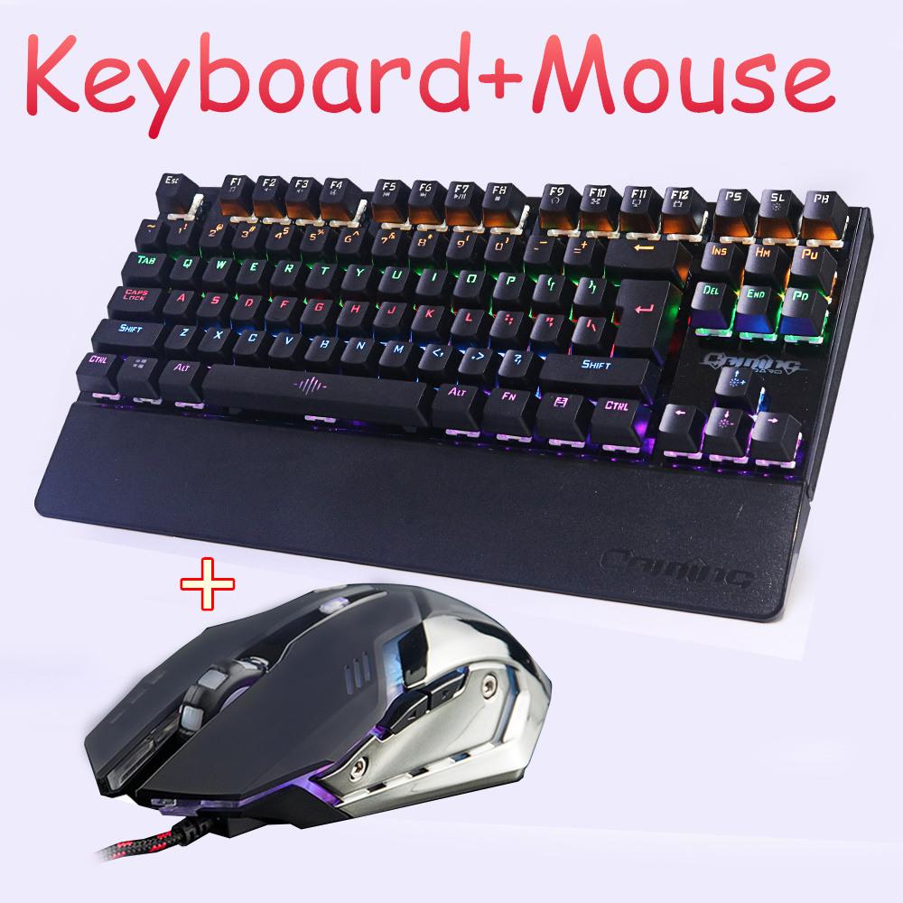 Prix pour Jeu Mécanique clavier souris combo Rétro-Éclairé LED led Anti-les images fantômes Lumineux + gaming mouse 6 boutons 3200 DPI Russe autocollants