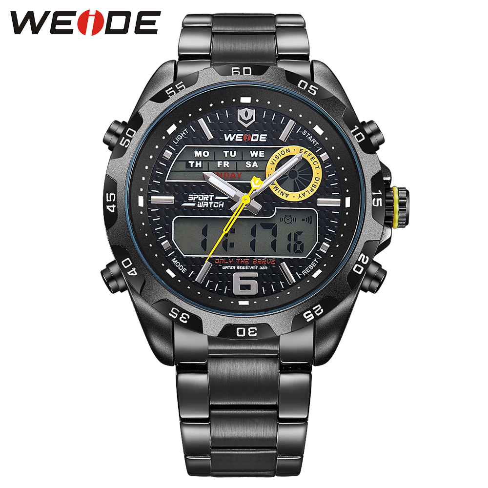 Weide 2017 top men watch  luxury black quartz contracted in quartz watches stainless steel date digital led sports horloge clock weide men running sports quartz watch black strap dual date day back light analog digital alarm clock military watches