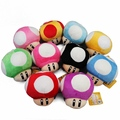 Retail 1 Piece Super Mario Bros Mushroom Soft Plush Doll Stuffed Toy With Keychain 10 Colors to Choose