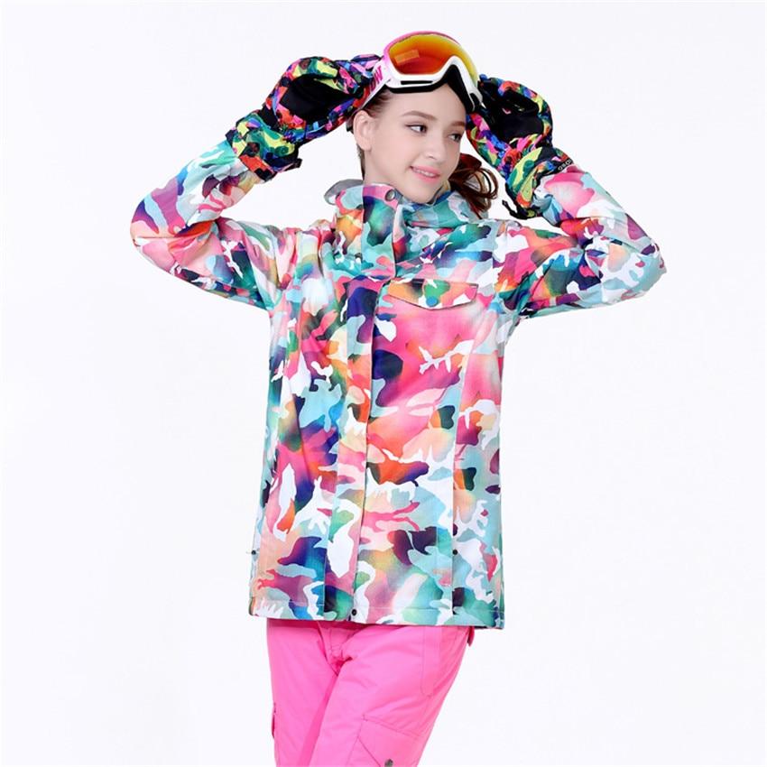 ГСОУ Сноу новый женщин катание на лыжах куртка снег женщины monoboard катание на лыжах одежда водонепроницаемый тепловой камуфляж водонепроницаемый ветрозащитный