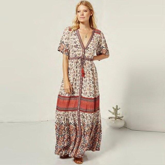 c997d5f9c38a8 US $28.7 33% OFF|Pirate Curiosity Rayon Boho V Neck Women Maxi Dress  Rosewood Print Gown Long Casual Beach Dress Summer Dresses 2018 Vestidos-in  ...