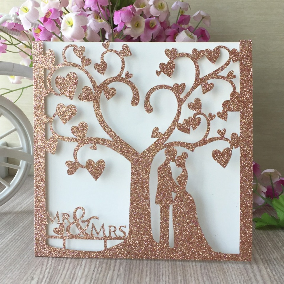 40pcs Laser Cut Glitter rose Gold Silver Color Party Romantic Chic Tree  couple Wedding Invitation Cards card blessing Greet card Cards & Invitations   - AliExpress