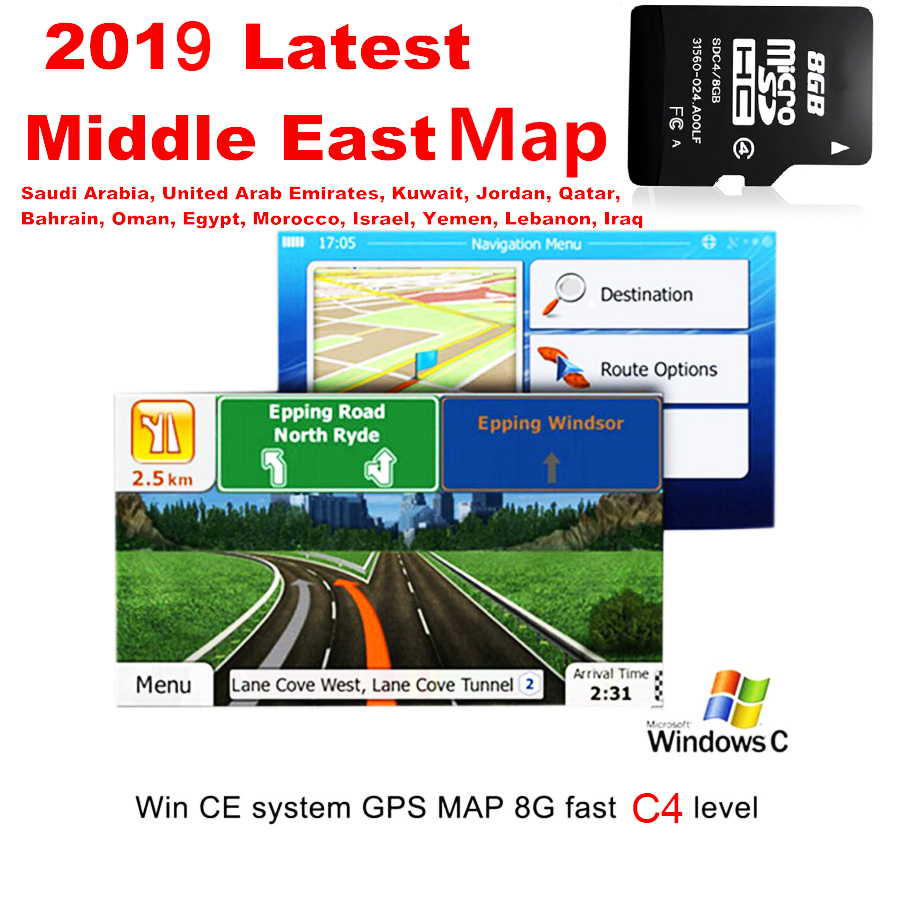 Fit For WCE System Car GPS Navigation 8GB Micro SD Card Lastest Middle East Map Including BH,EG,IQ,IL,JO,KW,LB,MA,OM,QA,SA,AE,YE