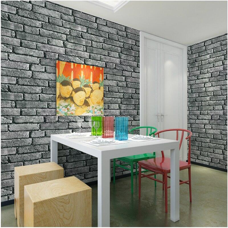 10 Mt Vintage 3D Vinyl Ziegel Wand Tapetenbahn Geprägte Strukturierte  Tapeten Brick Grau Schwarz Home Decor