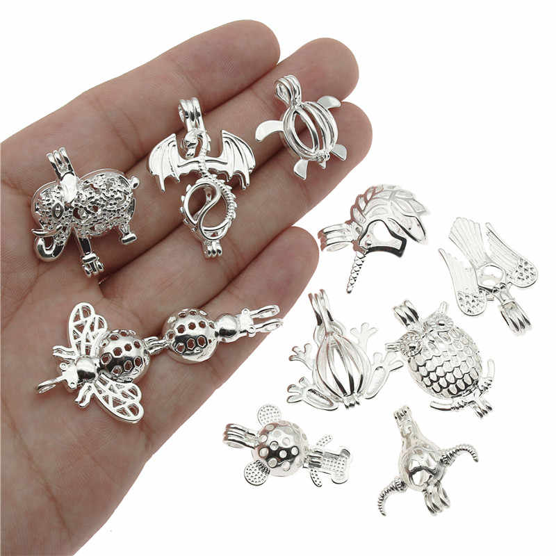 10pcs Mixed Pearl Cage Locket Pendants Classic Animal Aromatherapy Essential Oil Diffuser Jewelry Necklace DIY Jewelry
