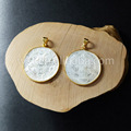 WT- P681 Hot sale tiny round coin shell pendant ,handmade carved coin shell pendant in 24 k gold plated