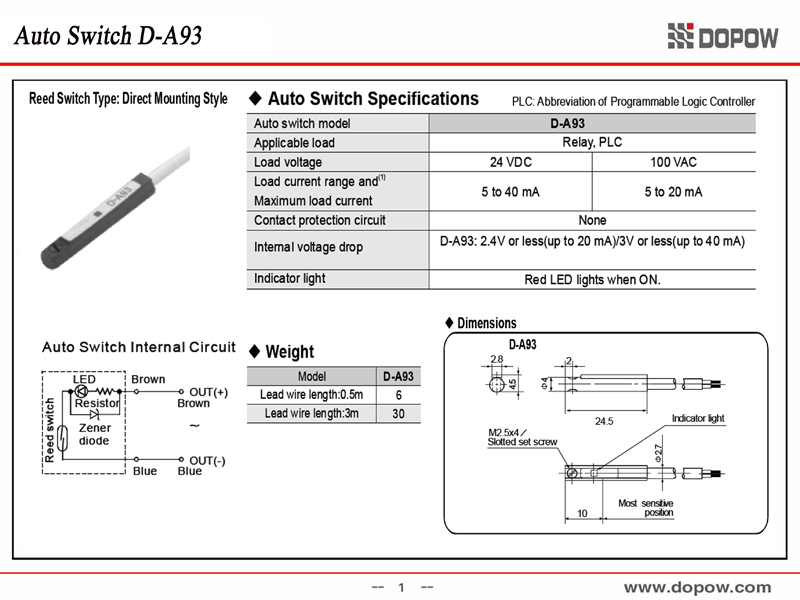 10pcs Lot D A93 Direct Mount Style Magnetic Sensor Reed Type Auto