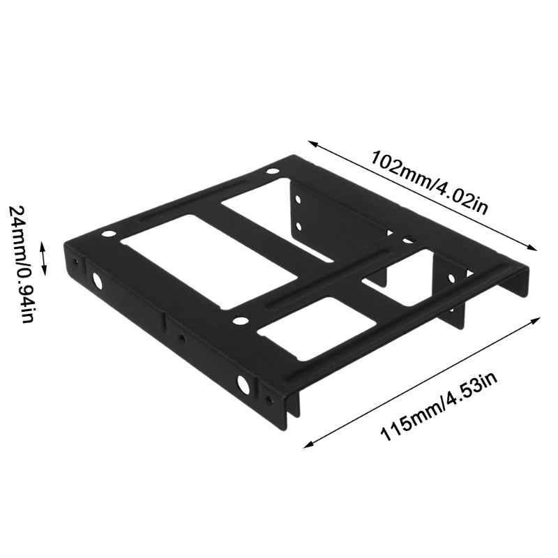 """Schwarz Metall Dual 2,5 """"bis 3,5"""" Festplatte Bay Montage Halterung 2x2,5 """"bis 3,5"""" HDD/SSD Montage Halterung Caddy mit Schrauben T3LB"""