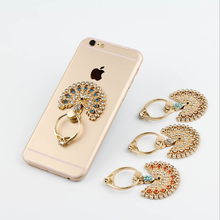 Finger Ring Holder of Buckles The Peacock Metal Set Auger Gem Universal Ring Holder 360 Holder Phone Socket Cellphone Ring(China)