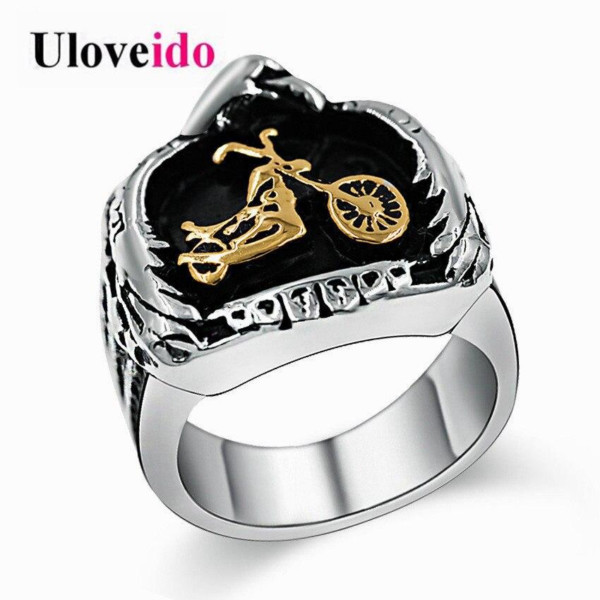 Uloveido 2pcs Cubic Zirconia Stackable Wedding Gears Rings Silver Color Jewelry for Women PJ4283