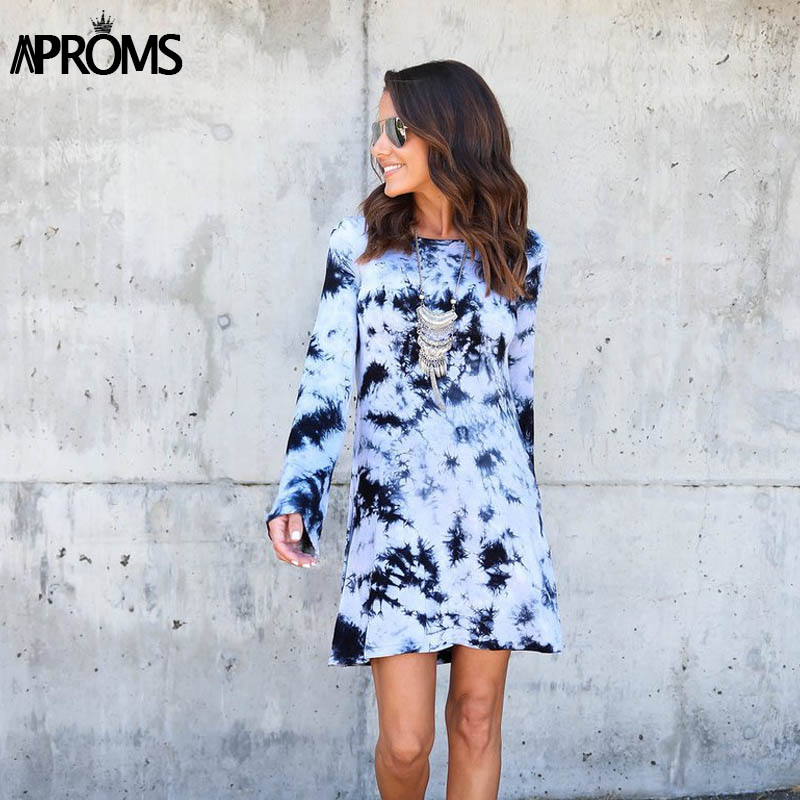 Aproms Frauen Sexy Backless Langarm Kleid Vintage Fliege Coole Druck ...