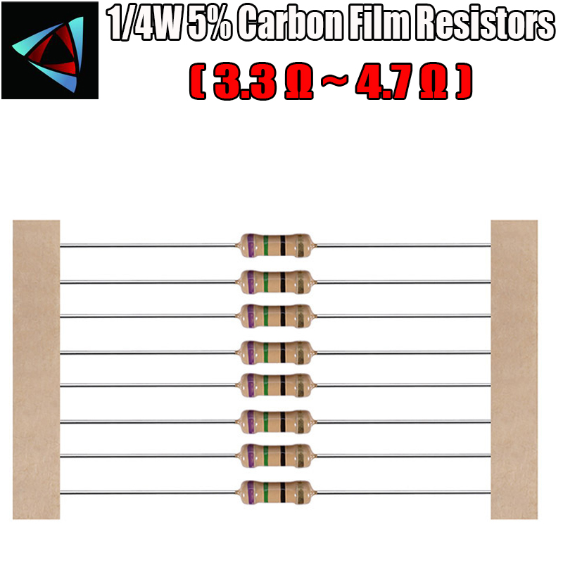 100pcs 1/4W 5% Carbon Film Resistor 3.3 3.6 3.9 4.3 4.7 Ohm