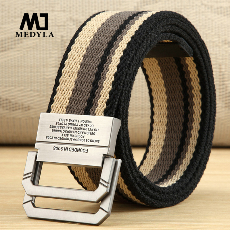 Canvas Belt Men's And Women's Belt Youth Student Double Ring Buckle Striped Belt Long Size Fashion Denim Belt