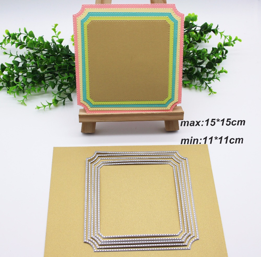 15*15cm 5pcs Round Corner Chamfer Square Frame Metal Cutting Dies for Scrapbooking Album Paper Decorative Craft Embossing Folder