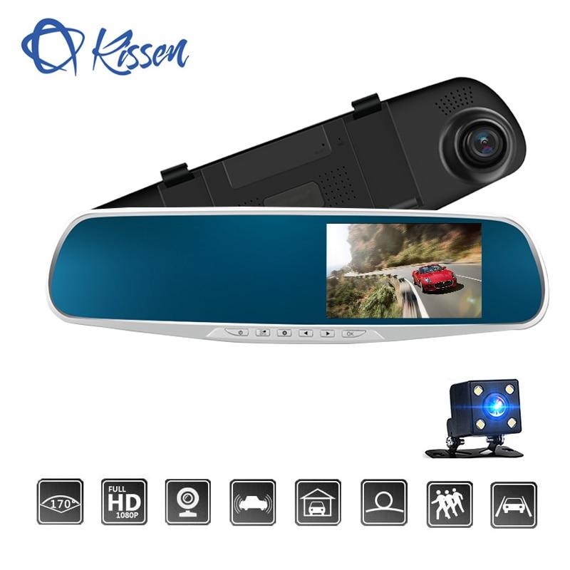 Kissen Voiture Dvr Miroir Double Objectif Arrière Vue Caméra Auto Full HD 1080 p Dash Caméra Pour L'enregistrement De Voiture 4.3 pouce Dash Cam Vision Nocturne