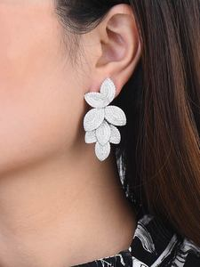 Image 2 - GODKI  Celebrity Favorite Luxury Leaf Leaves Flower Collection Full Micro Cubic Zirconia Paved Wedding Bridal Earring For Women