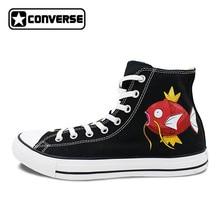 Скейтбординг обувь Для женщин Для мужчин Converse All Star ручной росписью обувь Pokemon Go Gyarados Magikarp рыба дракон Дизайн кроссовки