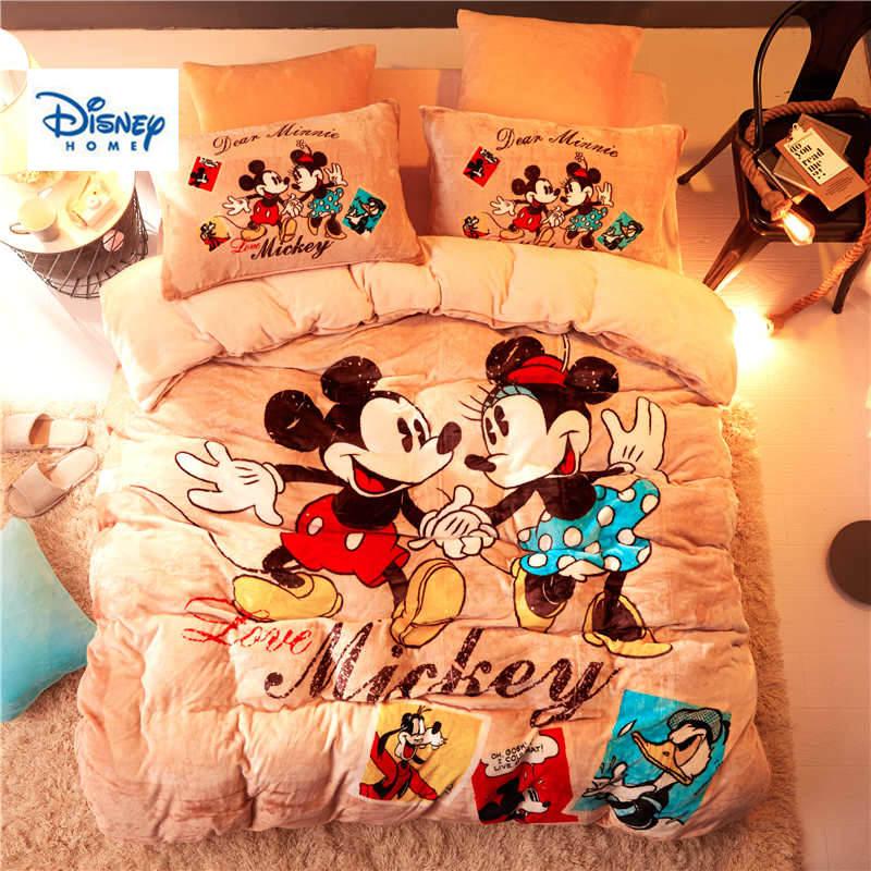 Couple Flannel Fleece Mickey Minnie Mouse Comforter Bedding Set