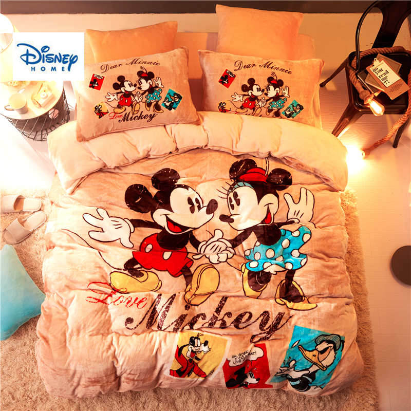 US $95.57 19% OFF|Disney flannel fleece Mickey Minnie Mouse comforter  bedding set twin size girls quilt cover 3d full bed linen soft coverlet  Kids-in ...