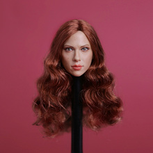 1/6 Black Widow Scarlett Johansson Head Sculpt Long Brown Hair gc002 Female Head Model все цены