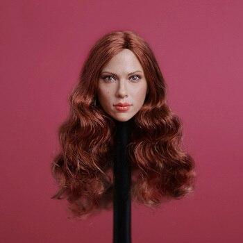 1/6 Siyah Dul Scarlett Johansson Başkanı Şekillendirici Uzun Kahverengi Saç gc002 Kadın Kafa Modeli