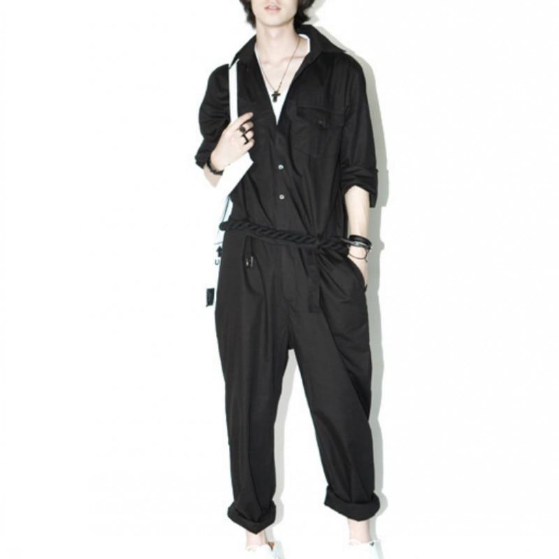 Été nouvelle mode Hommes Élégant Salopette Globale Pour Homme à manches longues Coton Lâche pantalon ajusté Pantalon Mâle Taille 2XL grande taille