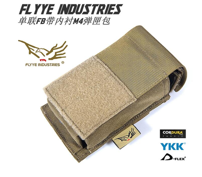 FLYYE MOLLE Single Unit FB Lined M4 magazine pouch Military camping hiking CORDURA FY PH M029