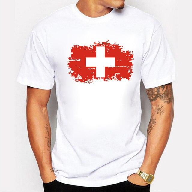 aa5d6ae914 BLWHSA Men T-shirt Fashion Nostalgic Switzerland National Flag Tops T Shirts  Short Sleeve Hipster Tee