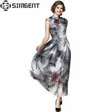Simgent новый летний фарфора Стиль модные тонкие с цветочным принтом Элегантное Длинное платье из органзы Vestidos jurken халат Longue Femme ETE